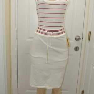 Patrizia Pepe Cream/Red Drawstring Skirt
